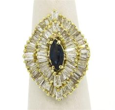 Large 14k Gold 3.00ctw Diamond Sapphire Cocktail Ring Featured in our upcoming auction on December 14, 2015 11:00AM EST!