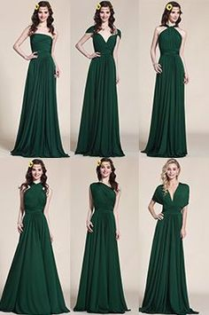 Convertible Dark Green Bridesmaid Dress Evening Gown (07154704) - USD 159.99