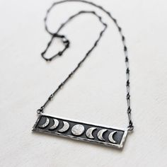Sterling Silver Moon Phase Necklace by IvyandGoldHandcraft on Etsy https://www.etsy.com/listing/129118441/sterling-silver-moon-phase-necklace
