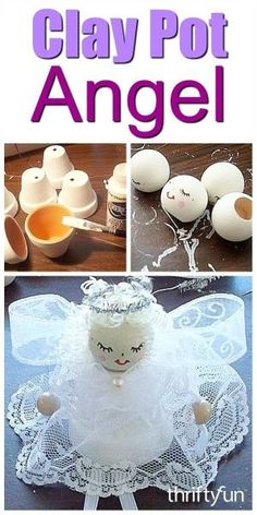 This guide is about making clay pot angels. Terra cotta clay flower pots are a great starting place for many crafts. This guide is about making clay pot angels. Terra cotta clay flower pots are a great starting place for many crafts. Christmas Clay, Christmas Ornament Crafts, Christmas Crafts For Kids, Christmas Angels, Christmas Projects, Holiday Crafts, July Crafts, Patriotic Crafts, Patriotic Party