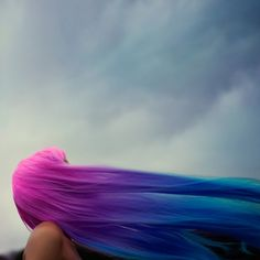 colored hair in wind