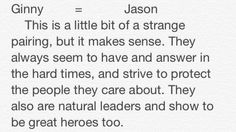 Potter vs Jackson Part 4. Ginny and Jason (weird pairing, I know).