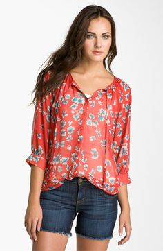Olivia Moon Print Peasant Blouse | Nordstrom - I rarely wear a print, but this one caught my eye!