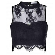 Glamorous Black Sheer Lace Scallop Hem Crop Top: Black - - Glamorous Black Sheer Lace Scallop Hem Crop Top Black from Peppermint Black High Neck Top, Black Lace Crop Top, Black Tube Tops, Sheer Lace Top, Lace Dress Black, Lace Tops, Eyelet Top, Lace Halter Top, Sheer Crop Top