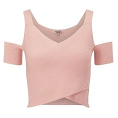 Ariana Grande For Lipsy Cold Shoulder Co-ord Top (12.455 CLP) ❤ liked on Polyvore featuring tops, shirts, crop tops, pink, pink crop top, pink top, cold shoulder tops, open shoulder shirt and open shoulder top