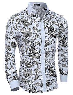 69bb61d404500e   15.24  Chemise Homme, Fleur - Coton Imprimé Col Italien Mince   Manches  Longues   Printemps   Automne