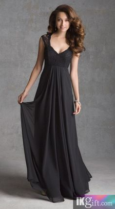 A line V Neck Chiffon and Lace Floor Length Bridesmaid Dresses