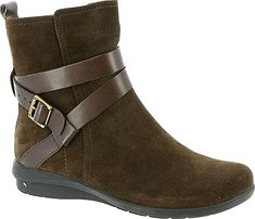 """ARRAY Women's Shoes in Brown Color. Riding-inspired straps give this classic boot a stylish finish. Suede leather upper. 6"""" shaft height. Side zipper entry. Velvety-soft fabric lining. Cushioned footbed. Flexible rubber sole. 1"""" heel height"""