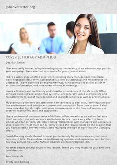 Cover Letter for Admin Job | Job Cover Letter