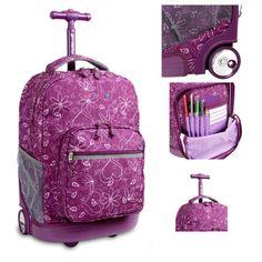 Rolling School Backpack Wheel Laptop Telescope Girls Fashion Teen Purple Bag New…