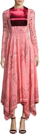 Valentino Long-Sleeve Flared-Skirt Dress, Pink/Multi