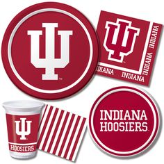 Indiana University Party Tableware  Be a part of athletic history with these Indiana University Hoosier party supplies.  http://www.ktpartysupply.com/collections/indiana-university-college-party-supplies