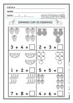 TRABALHANDO ADIÇÃO ATRAVÉS DE DESENHOS. Kindergarten Math Worksheets, Phonics Worksheets, Preschool Learning Activities, Preschool Printables, Kids Learning, Touch Math, Iq Kids, Math Word Problems, Stem Science