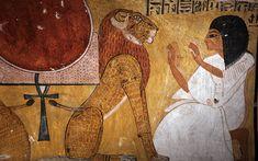 Tomb of Inherkhau showing him kneeling before the lion of Akheru, Deir el-Medina, West Bank, Luxor, Egypt