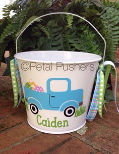 Personalized Easter Bucket.  Find me on Facebook.  Google Petal Pushers, Greenville, SC.