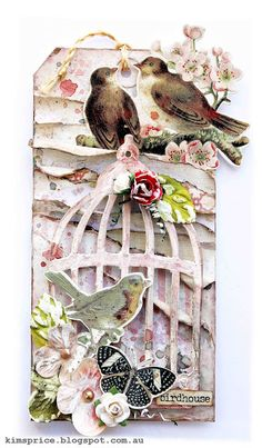 Scrapbook/art inspiration: Kim Price. Love the layers on this tag.