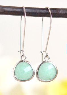 Mint Jade Drop Earrings in Silver. Simple Mint Teardrop Drop Earrings. Bridesmaids Jewelry. Wedding. Minimalist. Dangle Earrings. Gift.