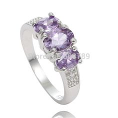 Fashion 1pc Silver Purple Exquisite Cubic Zirconia Ring Size 7-9
