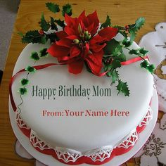 Share your love and respect for your mom on her birthday. Get Happy Birthday Mom cake with her name and photo. Wish her a very happy birthday in a new way. Happy Birthday Mom Cake, Mother Birthday Cake, Birthday Card With Name, Birthday Cake For Mom, Birthday Cake With Photo, Happy Birthday Cake Images, Birthday Party Snacks, Birthday Cake With Flowers, Beautiful Birthday Cakes