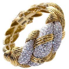 DAVID WEBB Woven Gold and Diamond Bangle | 1stdibs.com