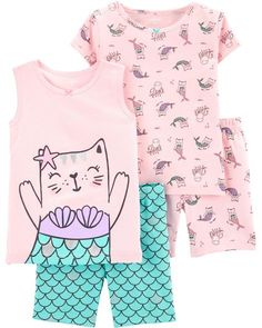 Let her mix and match with this cat mermaid PJ set. Carter's cotton PJs are not flame resistant. But don't worry! They're designed with a snug and stretchy fit for safety and comfort. Baby Girl Pajamas, Cute Pajamas, Carters Baby Girl, Toddler Girl, Baby Girls, Tween Girls, Little Girl Fashion, Toddler Fashion, Kids Fashion