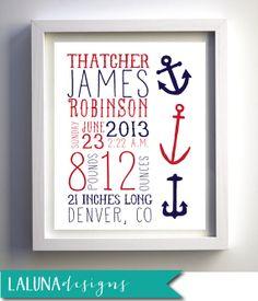 Birth Announcement Nursery Wall Art, Personalized Nursery Art, Nautical Wall Art, Anchor Art, Nautical Nursery