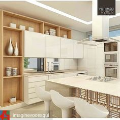 Inspiração... Outro projeto belíssimo de cozinha. Madeira e branco dão leveza e aconchego ao espaço. Destaque para a ilha que inclui o fogão e espaço para refeições - detalhes em madeira (ou metal?) na base. #reginadavalle #rioclaro_sp #inspiracao #interiores #cozinha #madeira #branco #ArquiteturaDecoracao #decor #decora #decoração
