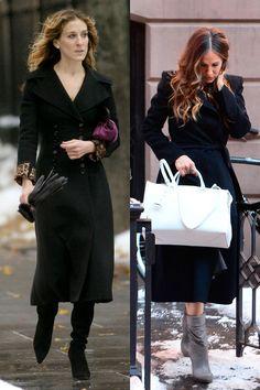 Abrigo negro y botas en invierno