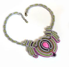 Lime pink statement necklace green colorful soutache by sutaszula