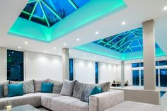 LED light tape OR spotlights lighting up the inside of the roof lantern - not in blue though! :-)