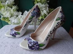 Hand-Painted Purple Wedding Shoes