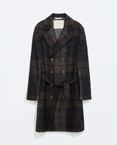 DARK TAN CHECK COAT from Zara