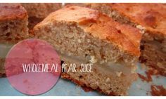 This wholemeal pear slice is deliciously spiced with cinnamon and vanilla and is the perfect cake for popping into a lunch box.