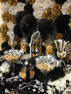 Great Gatsby themed candy buffet.... gold, black and ivory