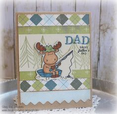 Fathers Day  Card Riley Moose Fishing by ScrapbookingCottage, $2.50