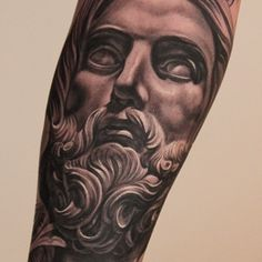 Greek Statue Tattoo- great shading, realistic stone look