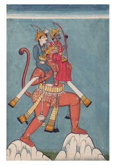 Hanuman Carrying Rama and Lakshmana Sotheby's Illustration to the Ramayana, (they say it is Rama and Sita, but that doe. Ancient Indian Art, Indian Folk Art, New York Illustration, Hindu Dharma, Great Warriors, Ganesha Art, Hindu Art, Traditional Paintings, Indian Gods