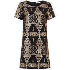 Black and Gold Aztec Sequin Shift Dress Black Evening Dresses, Party Looks, Occasion Dresses, Fashion Details, Dress Collection, Aztec, New Dress, New Look, Short Sleeve Dresses