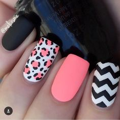 nice Love this leopard & chevron mani mixed in with a little neon! Hooray for @melcis...