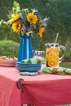 Use a few small C-clamps on the corners of your outdoor table to prevent your dining setup from blowing away on gusty days.
