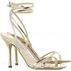 Y(^o^)Y Jimmy Choo Suave Mirrored Leather Sandals Golden ,♪♩♭◥ IT'S HARD TO FIND IT~