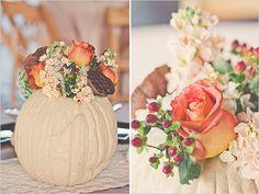 rustic fall flowers in a white pumpkin... Love!
