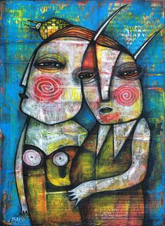 COUPLE by Dan Casado acrylic and collage on wood Sold to a private collector in Minnetonka, MN, USA http://stores.ebay.com/Casado-and-Sisi-art-studio