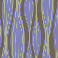 Wavy Stripes with Periwinkle and Green from Primitiva by Jane Dixon - Fat Quarter