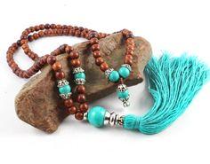 Wood Mala, Tassel Necklace, Turquoise Mala, Japa Mala, Prayer Beads, Meditation Beads, Gemstone Mala Beads, Rosewood Mala,Turquoise Mala