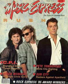 Rush on the front cover