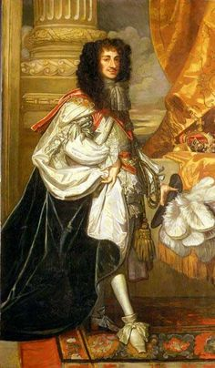 """King Charles II painted by Sir Peter Lely. King Charles II was lovingly devoted to his pet spaniels throughout his life, and the breed became known affectionately as the """"King Charles spaniel. Charles Ii Of England, Queen Of England, Uk History, British History, Asian History, Tudor History, History Facts, King Charles Spaniel, Cavalier King Charles"""
