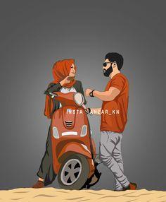 Love Cartoon Couple, Cute Love Cartoons, Cute Couple Art, Anime Love Couple, Cute Muslim Couples, Cute Couples Goals, Muslim Couple Photography, Cute Love Images, Cartoon Wallpaper Hd