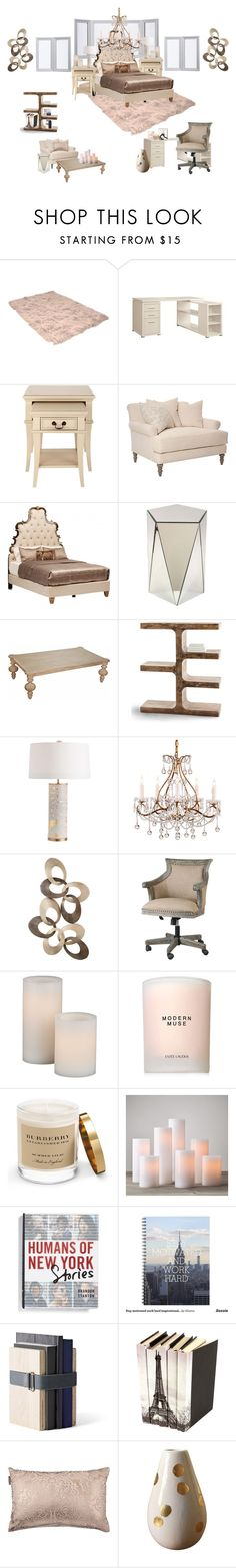 """Bedroom - Rose/Gold/Beige"" by sallygeorges ❤ liked on Polyvore featuring interior, interiors, interior design, home, home decor, interior decorating, Avani, Arteriors, Estée Lauder and Garance Doré"