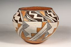 Native American Pottery, Acoma Olla with Steppe and Lightning Theme, CA by CulturalPatina on Etsy Native American Pottery, Native American Indians, Vases, Pueblo Pottery, Antique Show, Pottery Designs, Pottery Art, Gourd Art, Native Art
